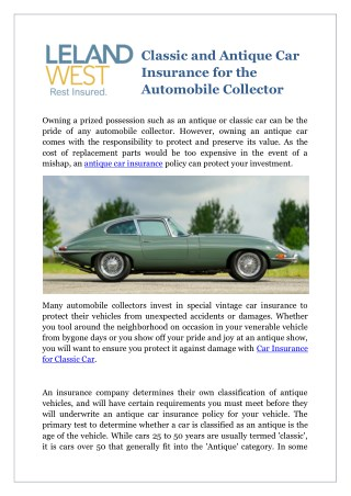 Classic and Antique Car Insurance for the Automobile Collector