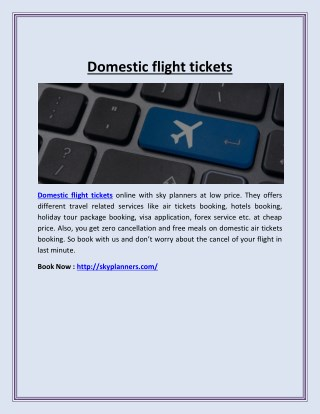 Domestic flight tickets