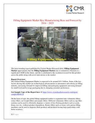 Filling Equipment Market to Rise to a Valuation of $10.3 Billion by 2025