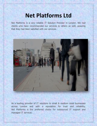 Cloud Solution Providers London - Net Platforms