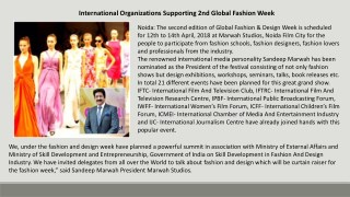 International Organizations Supporting 2nd Global Fashion Week