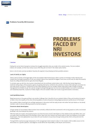 Problems Faced By NRI Investors