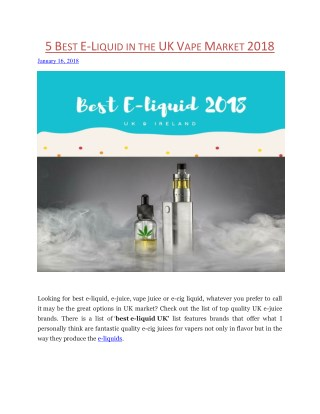 5 Best E-liquid Flavors in UK, Ireland 2018