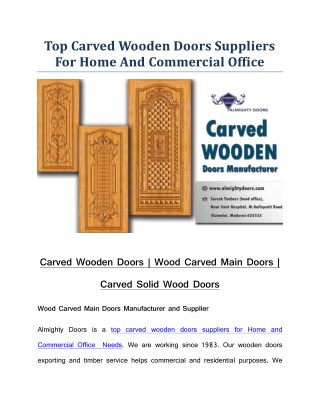 Carved Wooden Doors | Wood Carved Main Doors | Carved Solid Wood Doors