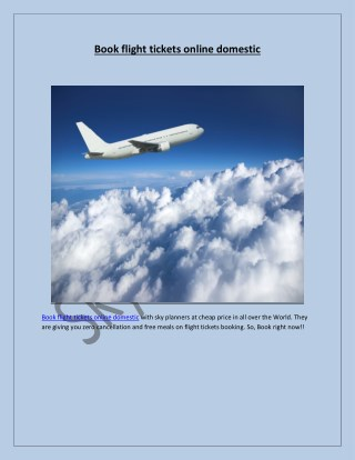 Book flight tickets online domestic
