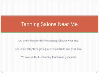 Tanning Salons Near Me