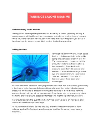 Find Tanning Salons Near Me