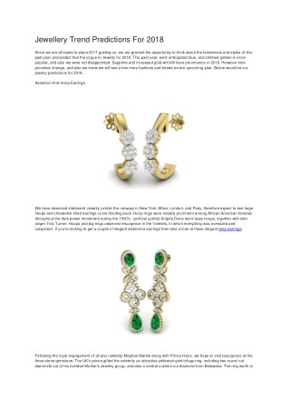 Jewellery Trend Predictions For 2018