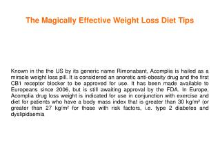 The Magically Effective Weight Loss Diet Tips