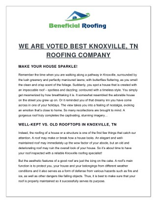 VOTED BEST Knoxville Roofing Company - Roofing Services in Knoxville