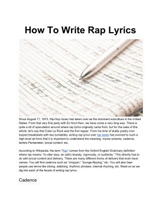 How To Write Rap Lyrics