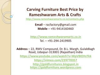 Carving Furniture Best Price by Rameshwaram Arts & Crafts