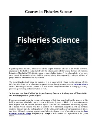 Courses in Fisheries Science