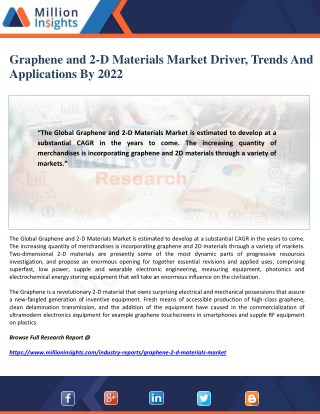 Graphene and 2-D Materials Market Driver, Trends And Applications By 2022