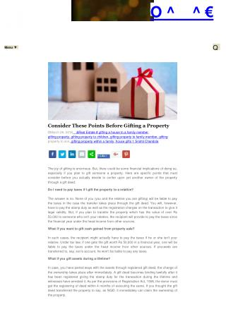 Consider These Points Before Gifting a Property