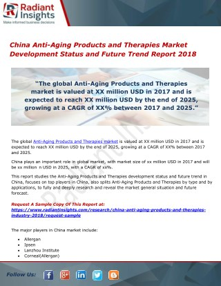 PPT - China Anti-Aging Products and Therapies Market