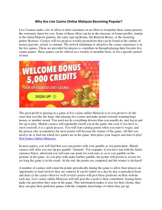 Why Are Live Casino Online Malaysia Becoming Popular?