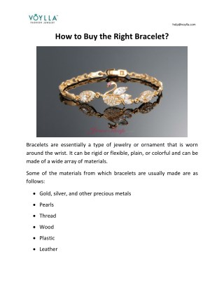How to Buy the Right Bracelet?