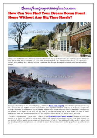 How Can You Find Your Dream Ocean Front Home Without Any Big Time Hassle
