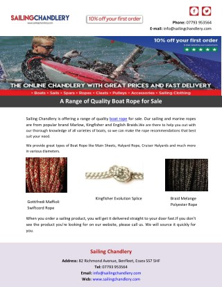 A Range of Quality Boat Rope for Sale