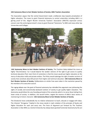 UGC Autonomy Move to Hurt Weaker Sections of Society
