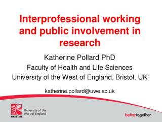 Interprofessional working and public involvement in research