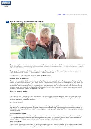 Tips For Buying A House For Retirement