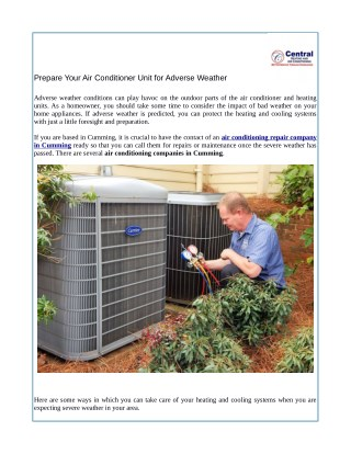 Prepare Your Air Conditioner Unit for Adverse Weather