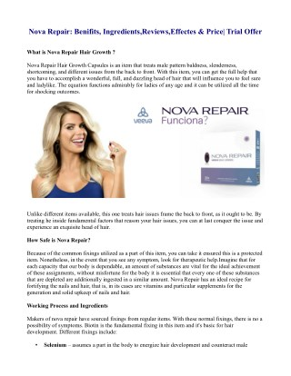 Nova Repair: Benifits, Ingredients,Reviews,Effectes & Price| Trial Offer