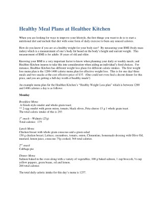 Healthy Meal Plans at Healthee Kitchen