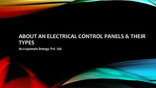 About an electrical control panels & their Types