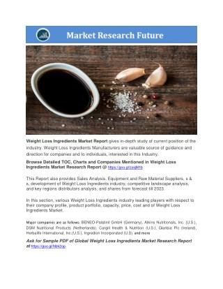 Weight Loss Ingredients Market presentation