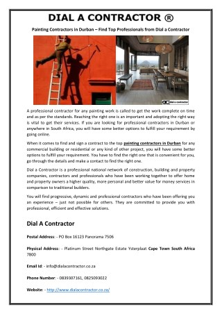Painting Contractors in Durban – Find Top Professionals from Dial a Contractor