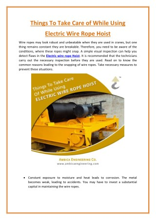 Things To Take Care of While Using Electric Wire Rope Hoist