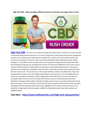 High Tech CBD - helps in Controlking blood sugar level and blood pressure