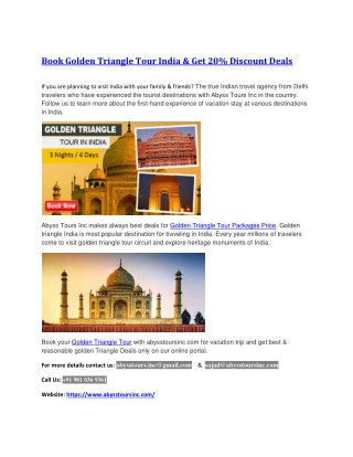 Golden Triangle Tour Packages Price