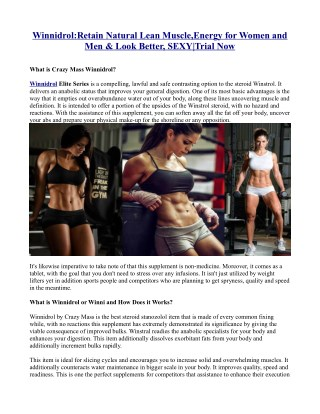 Winnidrol:Retain Natural Lean Muscle,Energy for Women and Men & Look Better, SEXY|Trial Now