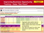 Improving Business Opportunity Tracking   Sales  War Room