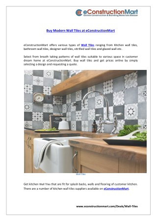 Buy Modern Wall Tiles at eConstructionMart