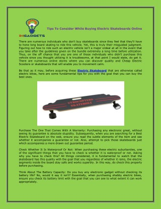 Tips To Consider While Buying Electric Skateboards Online