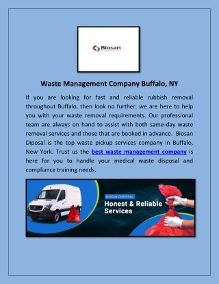 Medical Waste Disposal Services Buffalo