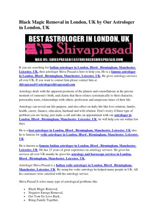 Black Magic Removal in London, UK by Our Astrologer in London, UK