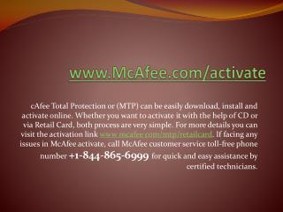 Quick mcafee activate Support visit at www.mcafee.com/activate