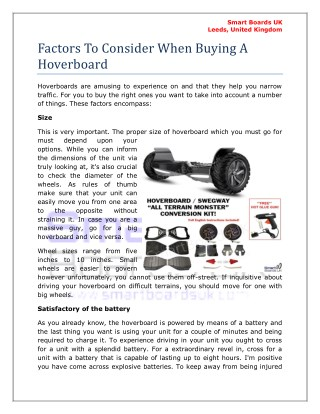 Factors To Consider When Buying A Hoverboard