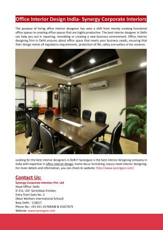 Office Interior Design India- Synergy Corporate Interiors
