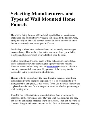 Selecting Manufacturers And Types Of Wall Mounted Home Faucets