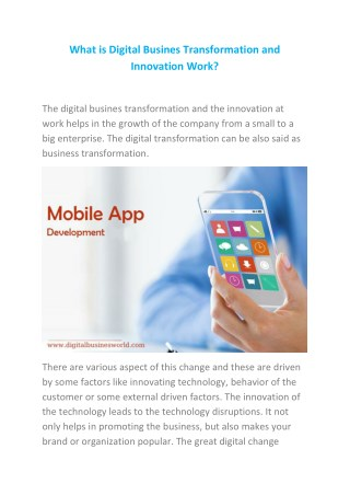 What is Digital Busines Transformation and Innovation Work?