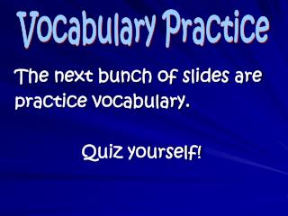 The next bunch of slides are  practice vocabulary.   Quiz yourself!
