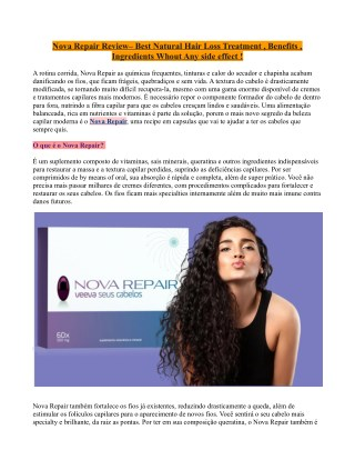Nova Repair Review– Best Natural Hair Loss Treatment , Benefits , Ingredients Whout Any side effect !