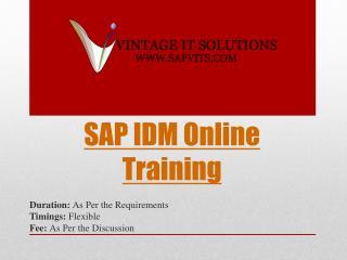 SAP IDM Course Content PPT